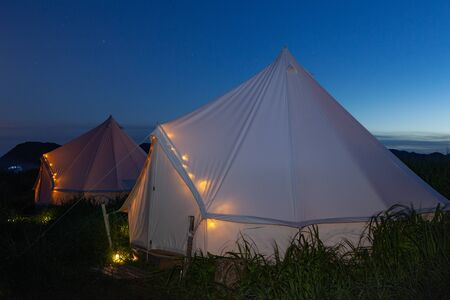 Glamping on the Pacific coast in an ecologically clean place in Russia. Kamchatka. Selective focus Stock fotó