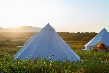 Glamping on the Pacific coast in an ecologically clean place in Russia. Kamchatka. Sоft focus