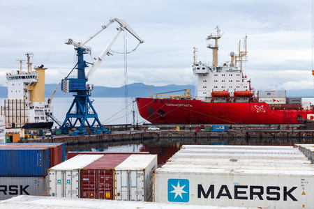 08272019. Nuclear container ship Sevmorput stands on container loading in the city of Petropavlovsk-Kamchatsky Editöryel