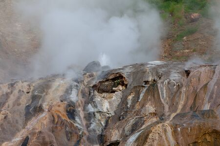 Geyser Valley in the valley with hot springs and fumaroles