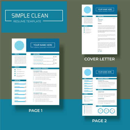 Vector - Professional minimalist cv/resume template design two pages A4 size