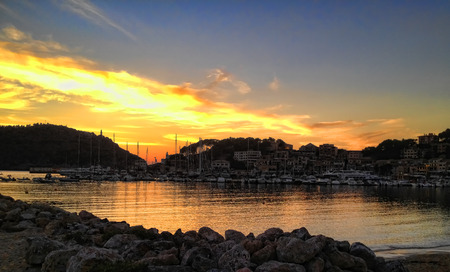 Background picture. Photography in Italy. Evening landscape by the sea in the bay.