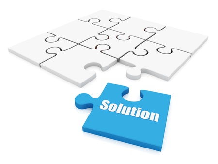 solution Puzzle on white background. Isolated 3D image  photo
