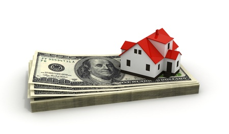House Mortgage, toy house model on top of dollar stack, financial real estate  photo