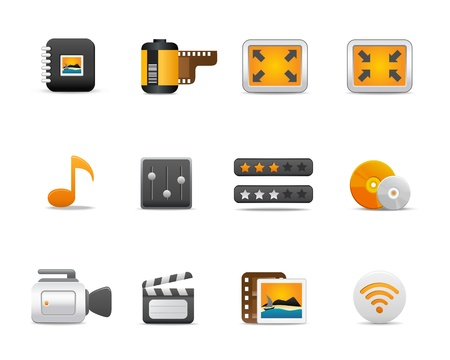 Icons Set for Web Applications, media icons, multimedia - Vector Vector