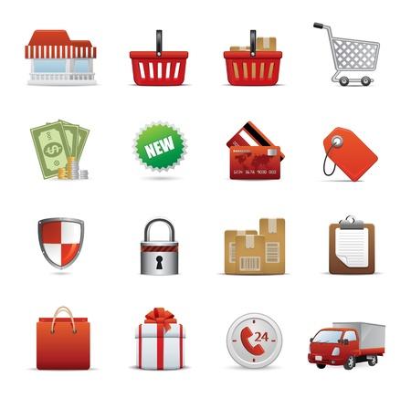 e commerce icon: Conjunto de iconos para aplicaciones Web, iconos, compras Icon Set - Vector de compras