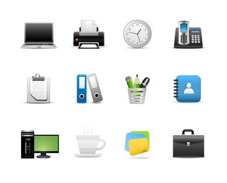 pc icon: Icons Set for Web Applications, Office icons, Universal icons Set. Illustration