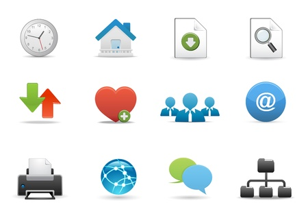 printing out: Icons Set for Web Applications, Office &amp, Business icons, Universal icons Set. Illustration
