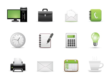 printing out: Icons Set for Web Applications, Office icons, Universal icons Set. Illustration