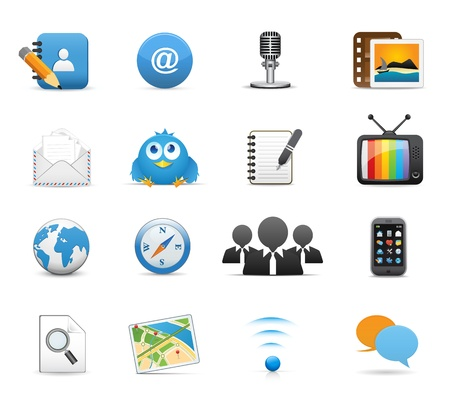 Icons Set for Web Applications, Internet &amp, Website icons, Universal Social Media Icons. Vector
