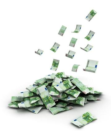 soldi euro: euro Falling soldi cento  Archivio Fotografico