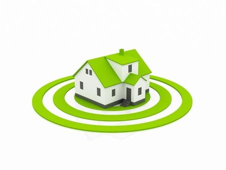 housing search: illustrazione di una casa nel centro di un bersaglio verde. Archivio Fotografico
