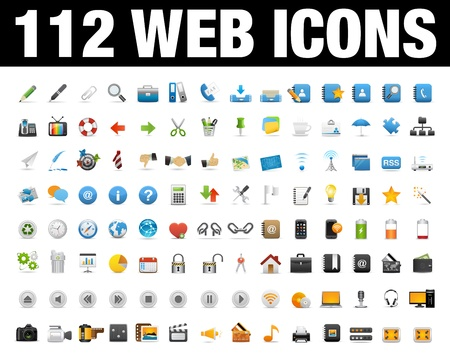 web icons communication: Icons Set for Web Applications, Internet  Website icons Set Illustration