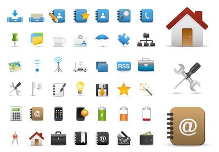 pilas: Establecer iconos para aplicaciones Web, Internet y Web iconos, iconos universales Set - Vector