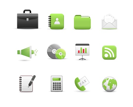 Business Icons, green color Vector