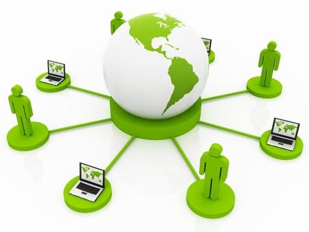 Global Computer Network green  Stock Photo