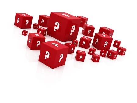 question mark cubes falling photo