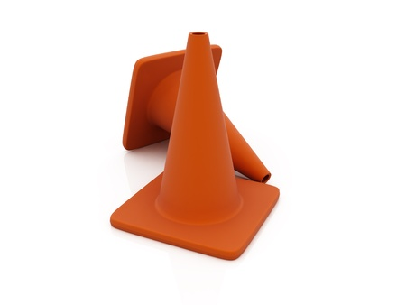 Traffic cones over white reflective background Stock Photo - 10926379