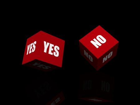 Yes or No. Questionnaire isolated on black photo