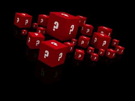 Red question mark cubes falling isolated on black photo