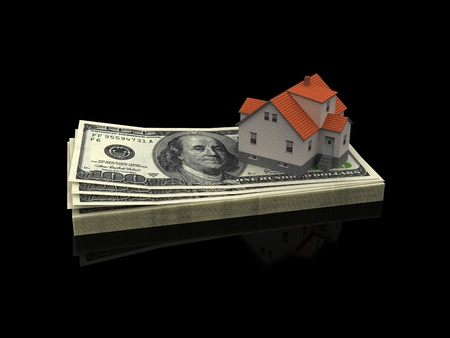 investment risk: House Mortgage Isolated on black Stock Photo