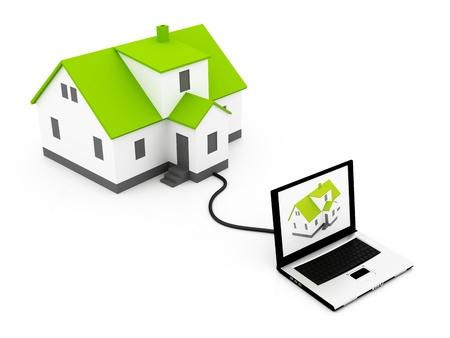 housing search: Nuova casa sul laptop isolato su uno sfondo bianco