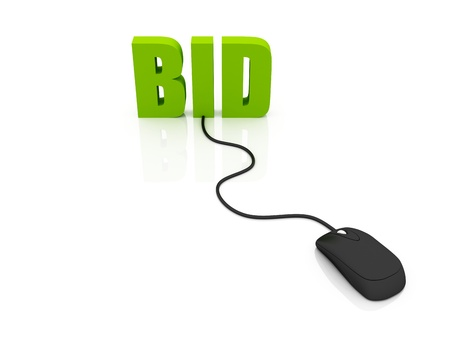 3D rendering of the word BID connected to a computer mouse Stock Photo - 10916370