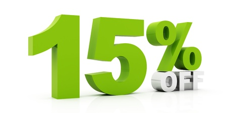 15: 15 Percent off green color Stock Photo
