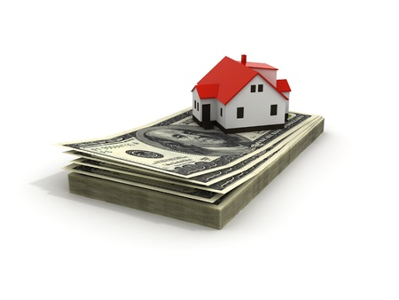 mortgaging: House with money over white background - mortgaging concept, real estate