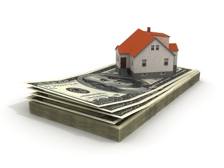 House with money over white background - mortgaging concept, real estate Stock Photo - 10927840