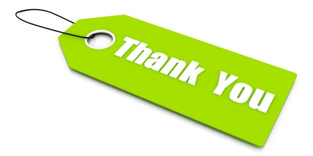 Thank you. Gift Card Isolated on White Stock Photo