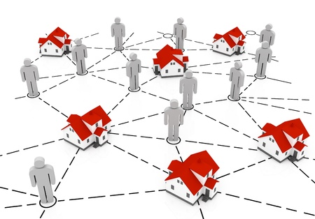 Real Estate Market, grey and red house network Stock Photo - 10927784