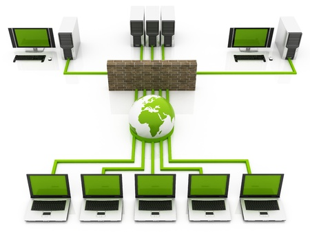 green Computer Global network connecting the Internet photo