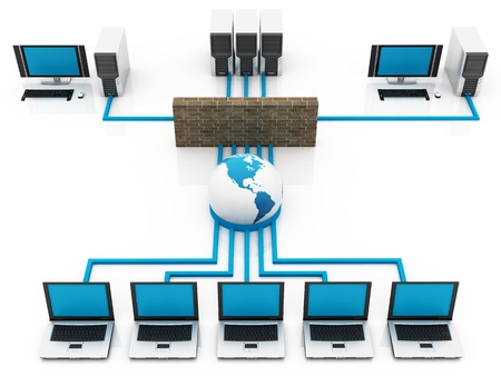 blue Computer Global network connecting the Internet Stock Photo - 10927829