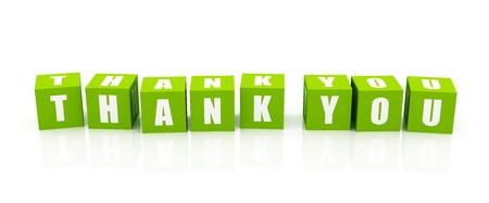 dank u: Dank u. groene blokjes alleenstaande op wit