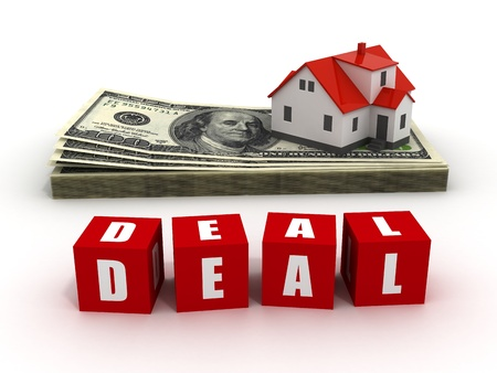 mortgaging: House with money over white background - mortgaging concept, real estate, deal Stock Photo