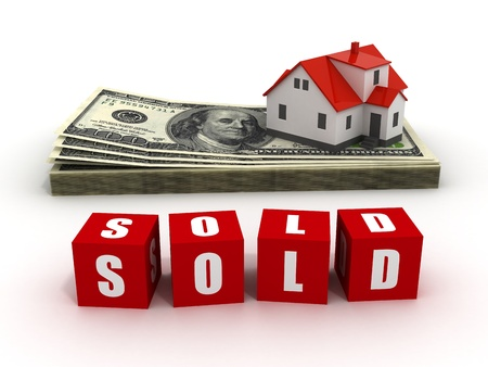 mortgaging: House with money over white background - mortgaging concept, real estate, sold