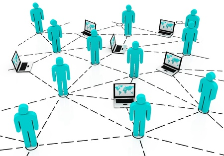 Network concept, global business network. teamwork illustration Stock Photo