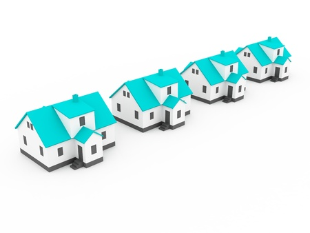 Real Estate four houses Stock Photo - 12516213