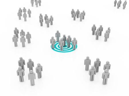 e recruitment: Conceptual image of teamwork Business concepts illustrated with target - networking, organizational groups, or workgroups