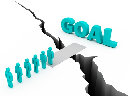Common Goal Concept, blue color photo