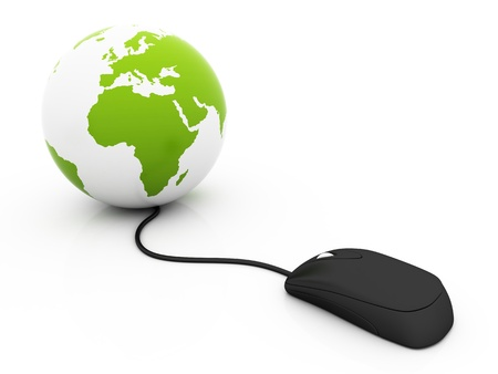 The world in a click - Global communications - over a white background, green color photo
