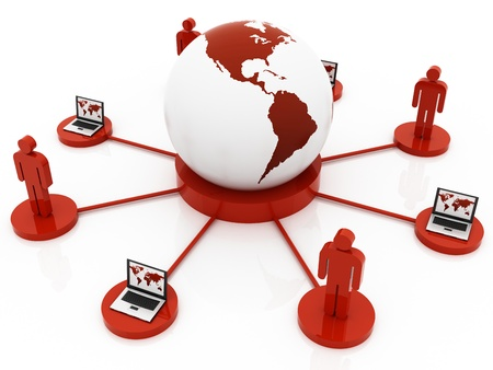 Global red Network Stock Photo - 12516383