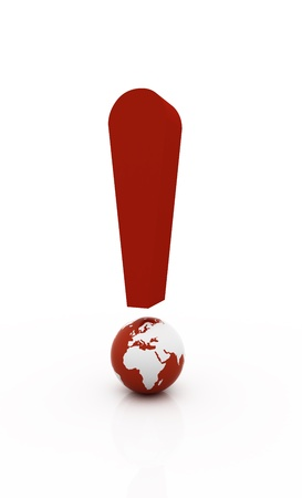 3D world Red exclamation symbol in white background photo