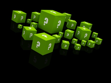 green question mark cubes falling photo