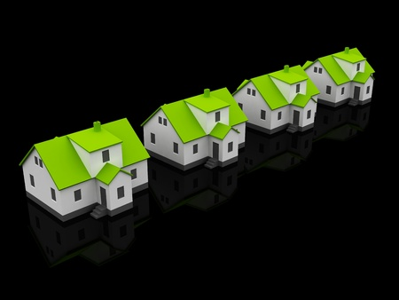 Real Estate four houses isolated on black Stock Photo - 12516455