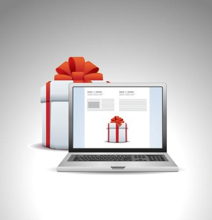 laptop screen: caja de regalo con el port�til