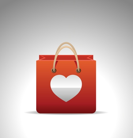 bag icon: shopping bag icon with heart Illustration