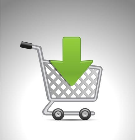 hand cart: a�adir a la cesta de la compra icono