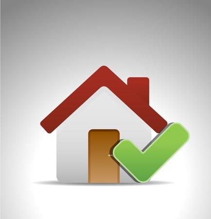 icono inicio: hogar icono con marca verde Vectores